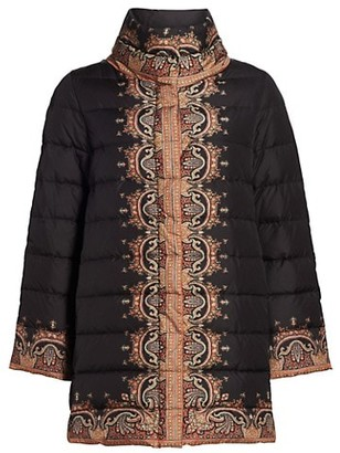 Etro Brumby Printed Funnelneck Down Puffer Coat