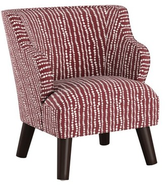 Skyline Furniture Kids Modern Chair in Line Dot Holiday Red
