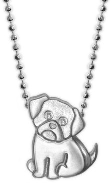 """Alex Woo Diamond Accent Pug 16"""" Pendant Necklace in Sterling Silver"""