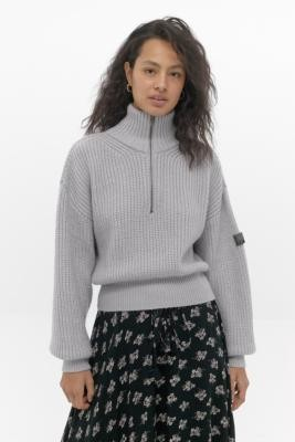 Urban Outfitters Quarter-Zip Fisherman Jumper - grey XS at