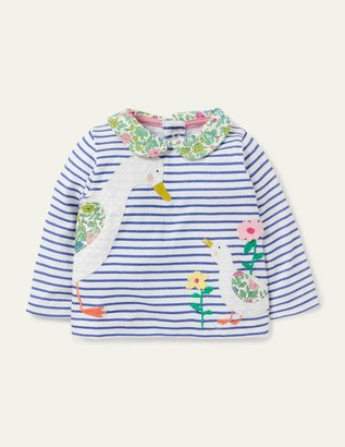 Boden Big Applique Collared T-shirt