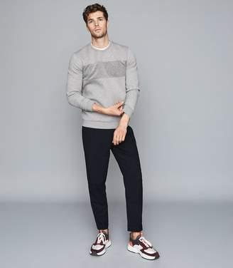 Reiss Arty - Textural Stripe Sweatshirt in Grey/grey