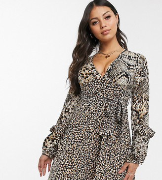 Glamorous Petite tea dress with tie waist in animal print mix