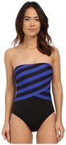 DKNY Iconic Stripe Layered Bandeau Maillot w/ Removable Soft Cups