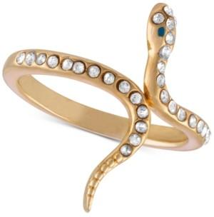 Rachel Roy Gold-Tone Crystal Studded Snake Ring