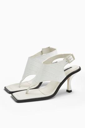 Topshop NOVELLA White Leather Toe Post Sandals