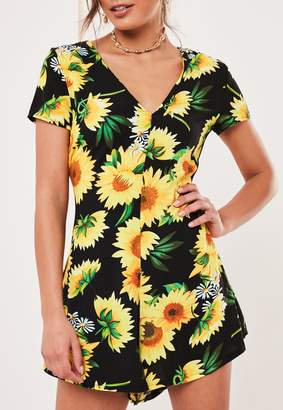 Missguided Black Sunflower Flippy Short Playsuit