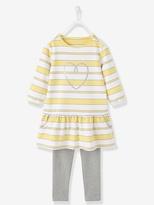 Vertbaudet Girls Dress & Leggings Outfit Set