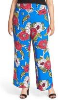 Melissa McCarthy Floral Print Wide Leg Pants (Plus Size)
