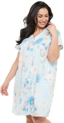 Miss Elaine Plus Size Women's Essentials Interlock Short Snap-Front Robe