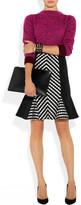 Matthew Williamson Stripe-paneled wool-blend skirt