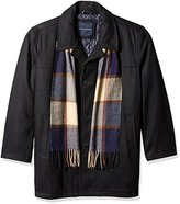 Tommy Hilfiger Men's Big Wool Melton Walking Coat with Detachable Scarf