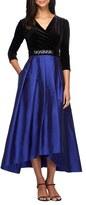 Alex Evenings Women's Velvet & Taffeta Fit & Flare Dress