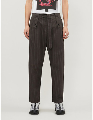 Craig Green Pinstriped straight cotton-poplin trousers