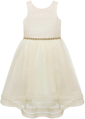 Princess Girls American Princess Girls' Special Occasion Dresses IVORY - Ivory Jacquard-Bodice Short-Sleeve Hi-Low Dress - Toddler