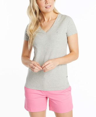 Nautica Women's Easy Comfort V-Neck Supersoft Stretch Cotton Solid T-Shirt