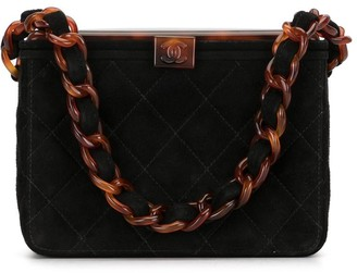 Chanel Pre Owned 1997 diamond quilted tortoiseshell CC tote