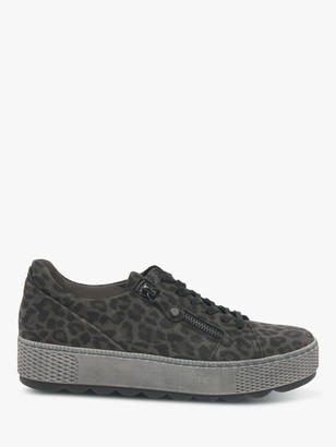 Gabor Novello Zip and Laces Flatform Low Top Leather Trainers, Anthracite