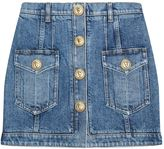 Balmain Lion Head Button-Down Denim Skirt