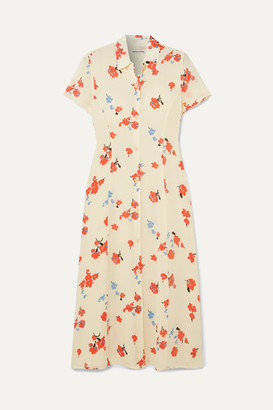 Reformation Sheila Floral-print Georgette Midi Dress - Ecru