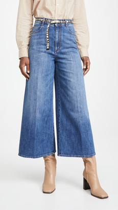 Stella McCartney High Rise Wide Leg Ecodark Stone Blue Jeans