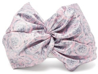 Versace Baroque-print Satin Turban Headband - Pink