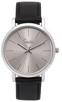 Speidel Sunburst Watch, Silver Face, Leather Band - Black