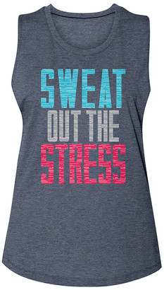 American Classics Women's Tank Tops ANTIQUE - Antique Denim 'Sweat Out the Stress' Muscle Tank - Women