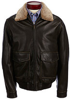 Roundtree & Yorke Pilot Lambskin Leather with Faux-Sherpa Collar Bomber Jacket