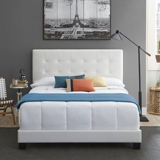 Premier Zurich II Upholstered Tufted Faux Leather Platform Bed Frame with Bonus Base Wooden Slat System, Multiple Sizes
