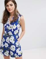 Oasis Floral Print Tie Waist Romper