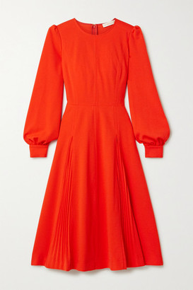 Tory Burch Pleated Crepe Dress - Tomato red