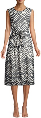 Peserico Sleeveless Graphic Print A-Line Dress
