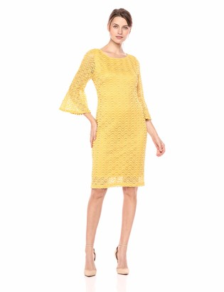 Sharagano Women's Bell Sleeve lace Dress