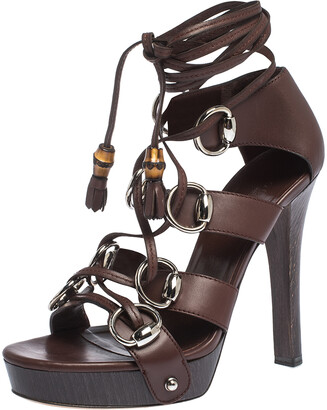 Gucci Burgundy Leather Ebony Platform Ankle Wrap Sandals Size 37
