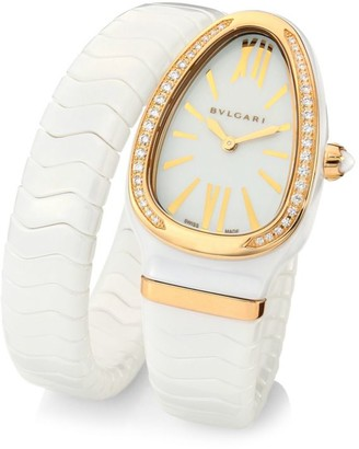 Bvlgari Serpenti Spiga Rose Gold, White Ceramic & Diamond Single Twist Watch