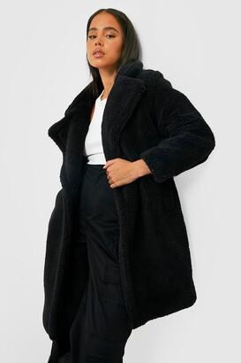 boohoo Petite Teddy Faux Fur Pocket Detail Maxi Coat