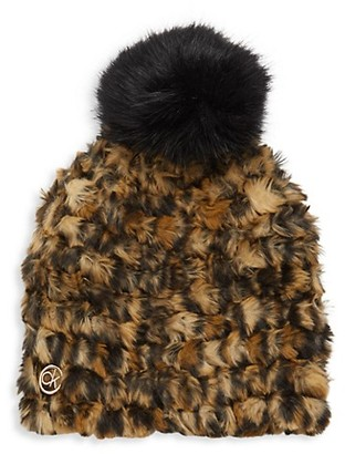 Calvin Klein Leopard-Print Faux Fur Pom-Pom Hat