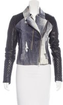 Rebecca Minkoff Leather Denim Printed Jacket