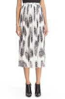 Prabal Gurung Women's Feather Print Pleated Chiffon Skirt