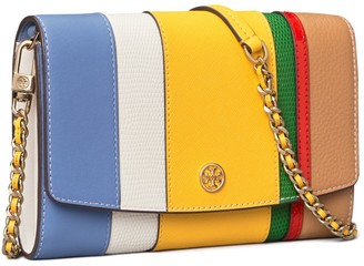 Tory Burch Robinson Balloon Stripe Chain Wallet