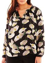 JCPenney Worthington® Long-Sleeve Print Woven Blouse - Plus