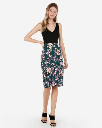 Express Floral Printed Pencil Skirt