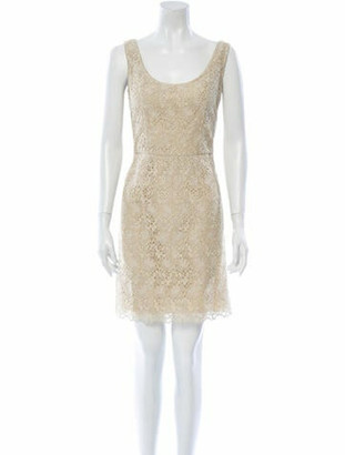 Valentino Scoop Neck Mini Dress Gold