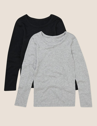 Marks and Spencer 2pk Thermal Cotton Long Sleeve Vests (6-16 Yrs)