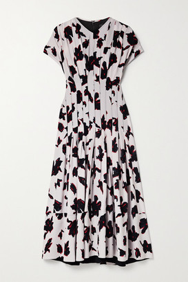 Proenza Schouler Pleated Floral-print Georgette Midi Dress - Black