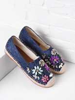 Shein Crystal Decorated Lace Overlay Espadrille Flats