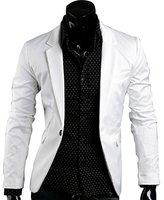 Easy Mens Solid color One Button Dress Slim Suit Blazer Coats Jackets M
