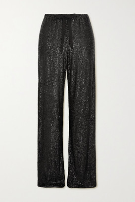 Naeem Khan Sequined Tulle Wide-leg Pants - Black