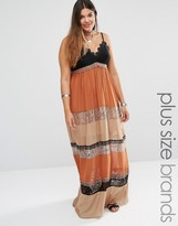 Alice & You Mixed Print Lace Insert Maxi Dress
